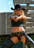Cowboy girl in black leather and gun