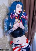 Inked patriot girl Razor Candi