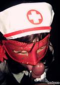 Japanese chick in kinky masked nurse costume