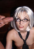 Blonde Secretary gets a load of cum