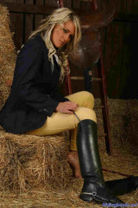blond girl Diana posing in the stable 1