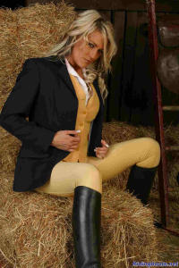 blond girl Diana posing in the stable 2