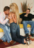 Hubby watches his naughty wife