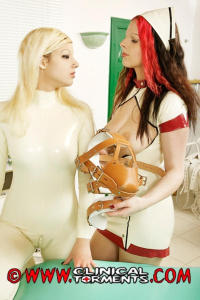 Latex nurse in white clinic