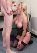 Busty Victoria gets plastered with sticky goo