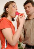 Doll-faced girlie having an older male licking her fresh slit