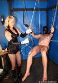 CBT dungen with blonde Mistress
