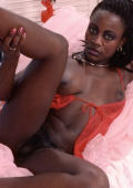 Dark girl with black bush spread