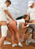 Young tennis girl gets doubled outdoors