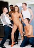 Four creamy loads splash her face and open mouth