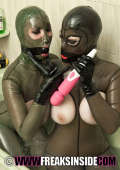 Sapphic erotica with two busty girls in transparent latex
