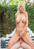 Lusty busty MILF fucks in the garden