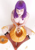 purple haired big boob goth inserts pumpkin seeds