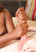 Young ebony babe jerking big cock