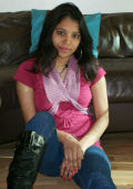 Modern Indian Babe in jeans strips