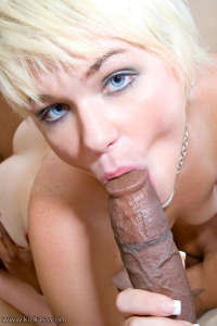 Horny blonde bitch sucking big black dicks