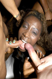 Interracial Jizz party girls in action 5