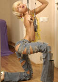 skinny blonde in dirty jeans