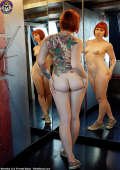 Wicked tattooed cutie with nice round ass