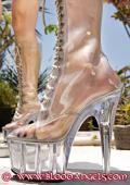 Kinky and freaky bloodangel in crystal high heels.