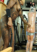 Slave wraped in transparent clingfilm and whiped