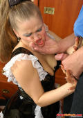 Young sexy French maid forced to suck