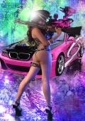 Neon model KITTY with gun