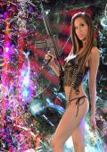Slim American beauty with gun