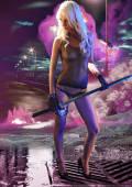 Fantasy godess with big sword