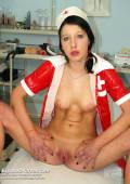 Skinny nurse Silvia dildo and speculum masturbation