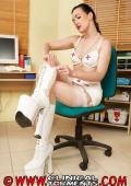 Nurs in white high boots