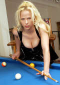 Girl pushes billard queue into wet pussy