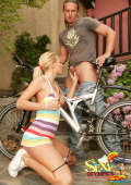 Nasty anal sex on the bike with blonde girl