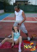 Tennis teacher anal fucks teen girl