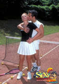 Outdoor sex with couple on tennis court