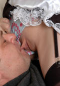 Kinky older male playing with a young maid