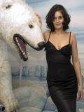 Pokorny posing with the polar bear