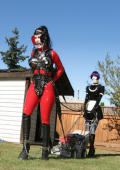 Human pony and maid ha ve to cut the lawn.