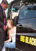 Big black taxi ride for white student girl