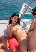 The couples fuck side by side on deck