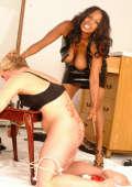 Ebony Mistress humiliates a sissy cuckold male slave