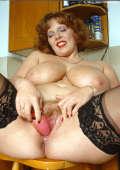BBW redhead MILF in all black lingerie