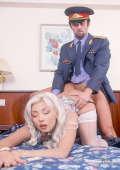 Kinky girl fucks with uniformed man