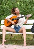 Cute musik teen outdoor play