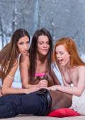 Three girls sharing a black dick