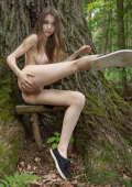 Naked beauty in the forest shows her pussy