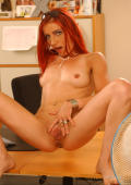 Angie strips and teases at my desk spreading her wet cunt.