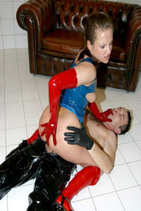 Latex and Rubbergirl in anal action 2