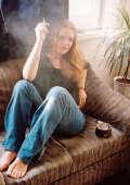 Blonde cigarettes smoking teen