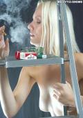 Blonde hardcore smoking girl